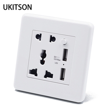 Biały elektryczny ścienny panel gniazda 2 szpilki 3 otwory z 2 USB do ładowania gniazdo zasilania CE RoHs zatwierdzone