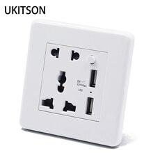 Panneau de sortie de mur électrique blanc 2 broches 3 trous avec 2 Port dalimentation de charge USB CE RoHs approuvé