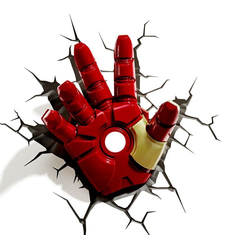 [New] Creative The Avengers Captain Iron man Helmet Glove model 3D Wall Lamp Unique LED light Glove lamp Home room decorations цена