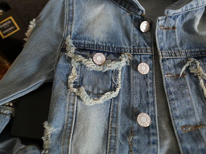 New Kids Clothes Children Girls Jackets Cool Kid Long Sleeves Turn-down Collar Buttons Coats Pocket Girl Pattern Denim Outerwear 3