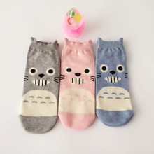 3Pairs/Lot  Harajuku Women Socks Cotton Funny Short Cute Cartoon Animal Happy Chinchillas