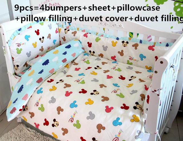 6 7 9pcs Mickey Mouse Cot Baby Bedding Kit Set