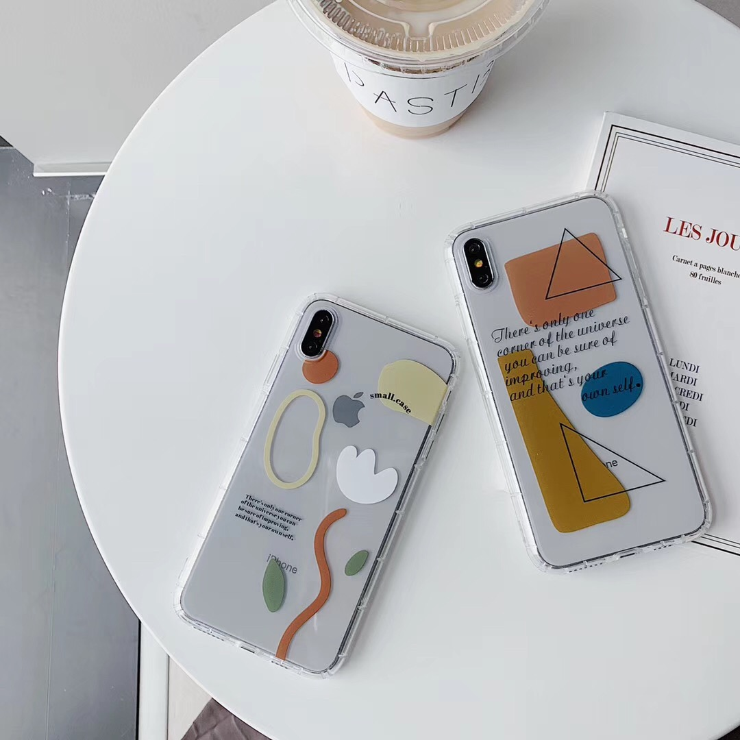 INS geometric design English Vintage line phone case For iphone Xs MAX XR X 6 6s 7 8 plus abstract clear soft TPU Back Cover