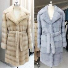 Genuine mink fur coat,coat fur of yellow 100cm,turn-down collar,mink fur coats natural china,real fur