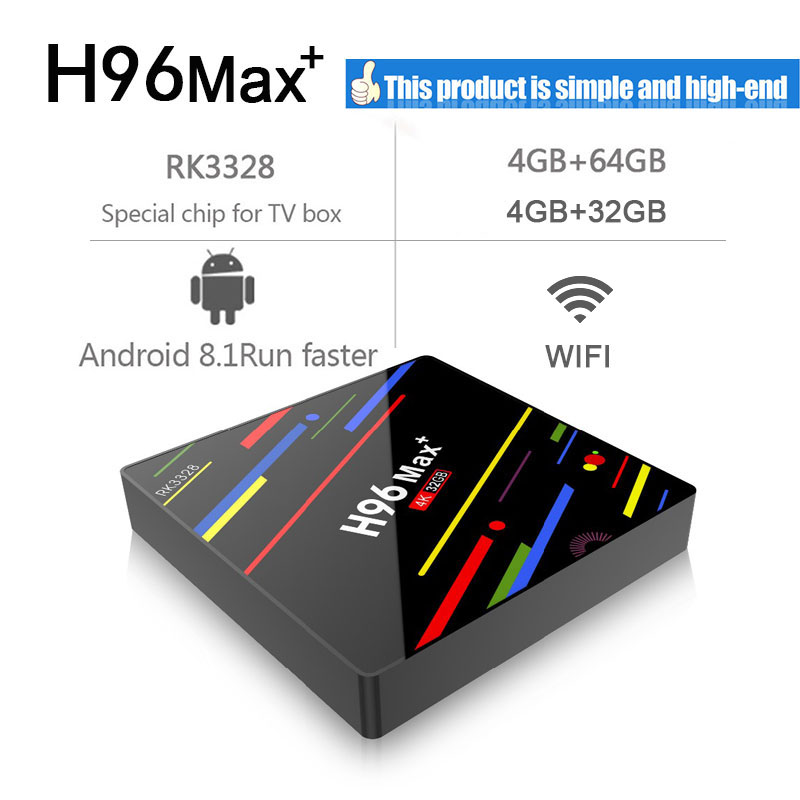 H96 Max plus Android 8.1 TV Box RK3328 Quad-Core 64bit 4GB 32GB 4K HD 2.4G Wifi TV BOX pk H96 max h2