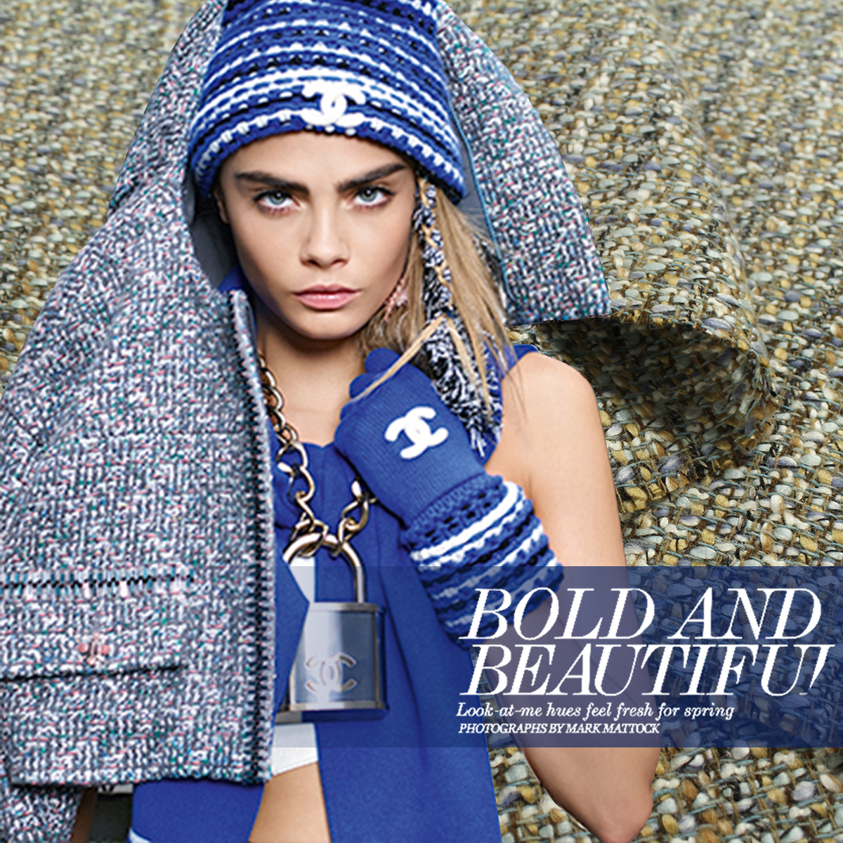 150cm wide wool weave fashion fabric Milan catwalk section sapphire blue small incense coat woolen Customized