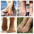 Vintage Summer Turquoise Beads Anklet Chic Foot Chain Ankle Bracelet Charm Flower Fatima Dangle Anklet Tassel Beach Foot Jewelry