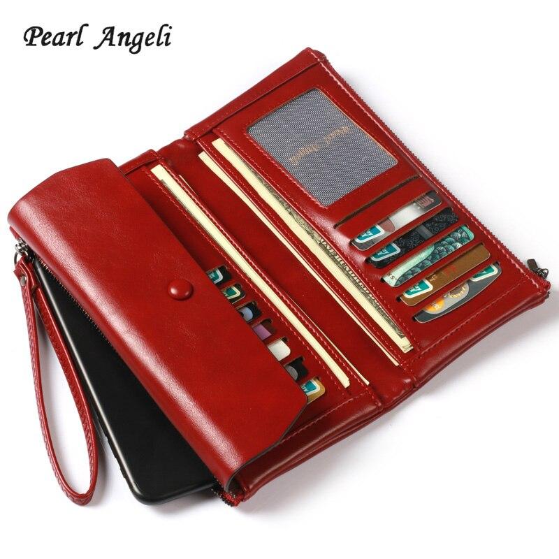 Perle Angeli Rouge Portefeuille Femelle Bracelet Cartes de crédit Téléphone Supports D'argent Bourse À Long Embrayage Pour Femmes Portefeuilles Carteira Feminina