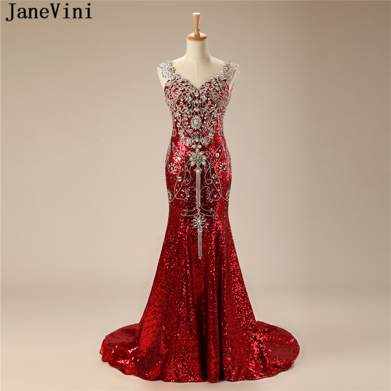 JaneVini Sparkly Red Sequined Long   Bridesmaid     Dresses   2019 V Neck Sexy Mermaid Luxury Rhinestone Backless Dubai Prom Party Gowns