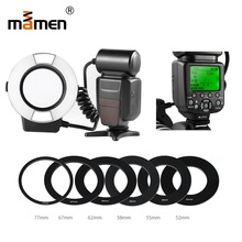 Mamen Camera  LED Macro Ring Flash Light For Nikon D5300 D3300 D3200 D3100 D7100 D7200 Canon 600D Speedlite LCD Display