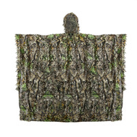 Açık 3D Yapraklar Kamuflaj Ghillie Panço Camo Cape Cloak Stealth Ghillie Suit Askeri CS Woodland Avcılık Giyim Ücretsiz Boyutu