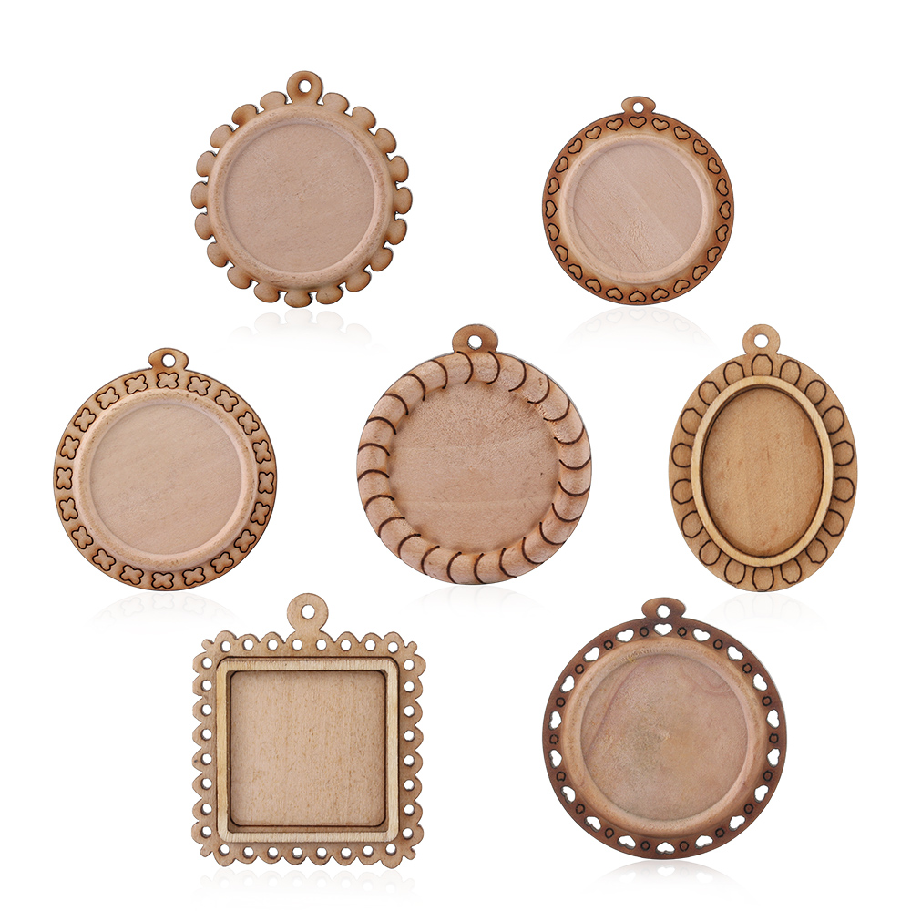 5/7pcs Round Square Pendant Wood Cabochon Base Blank Tray Fit Stone Beads For DIY Necklace Findings Pendant Setting