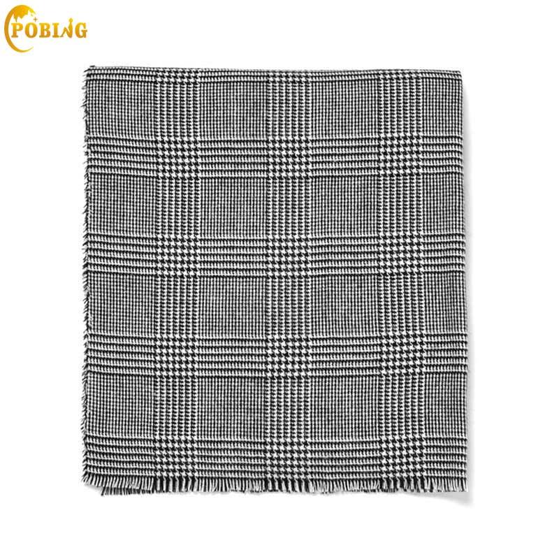 POBING Za Winter Scarf Women Black White Plaid Cashmere Scarves Wrap Basic Acrylic Wram Shawl Female Bufandas Blanket Scarf