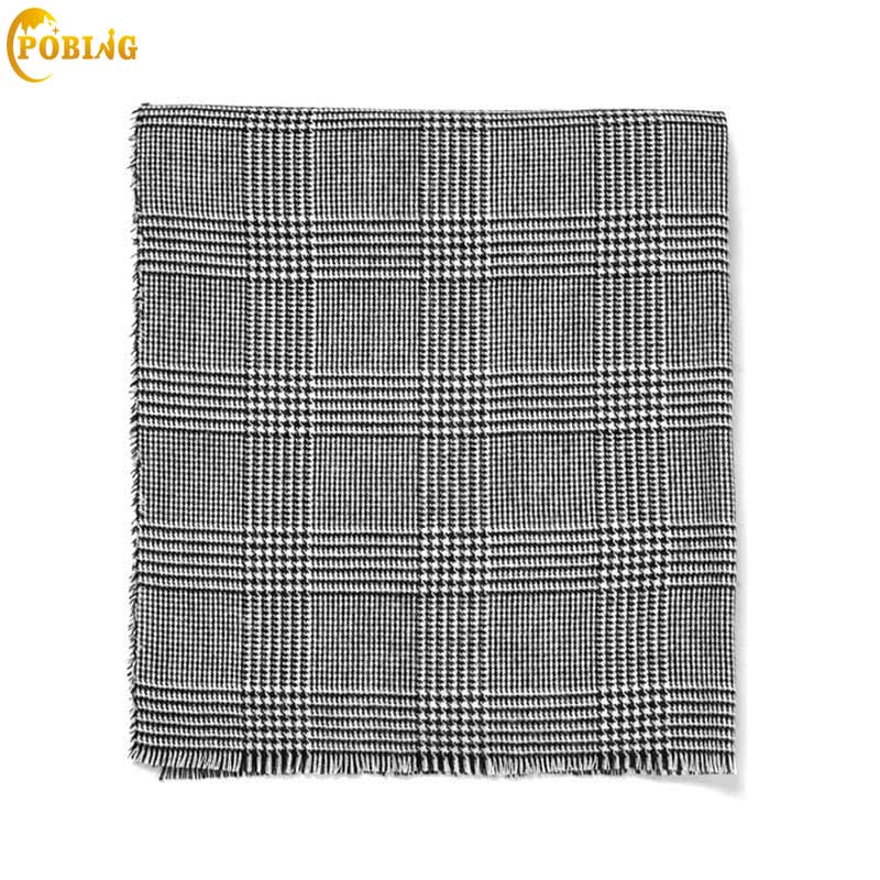 POBING Za Winter   Scarf   Women Black White Plaid Cashmere   Scarves     Wrap   Basic Acrylic Wram Shawl Female Bufandas Blanket   Scarf