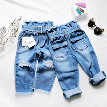ANKRT 19 Old Pants Denim Tide Summer New Kids Hallen Girls Flower Modeling Belt High-waist Ripped Individual  12M-6T