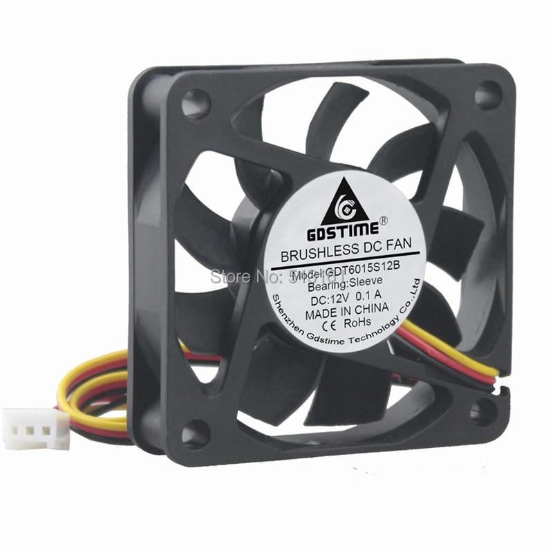 1 Piece Gdstime 60MM 12V 3Pin 60x60x15mm 6cm 6015 Brushless DC Cooling Cooler Fan