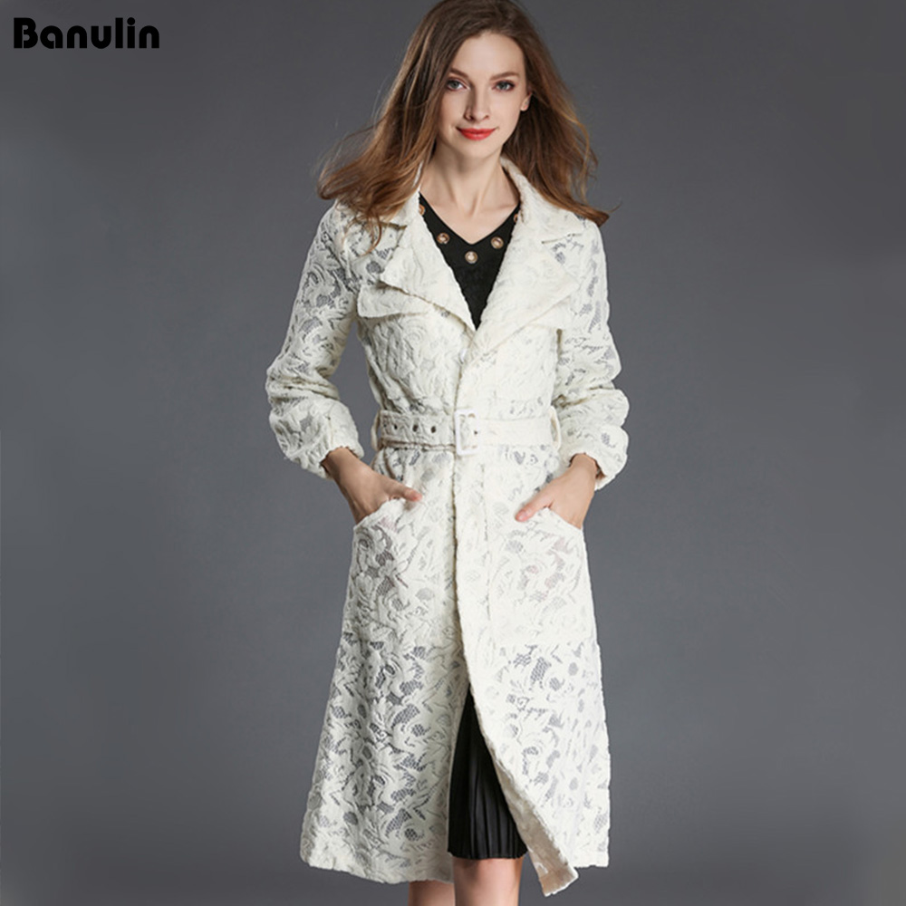 Banulin White Elegant Long Windbreaker Women Vintage Lace   Trench   Coats Long Sleeve Fashion Turn-Down Collar Overwear Clothing
