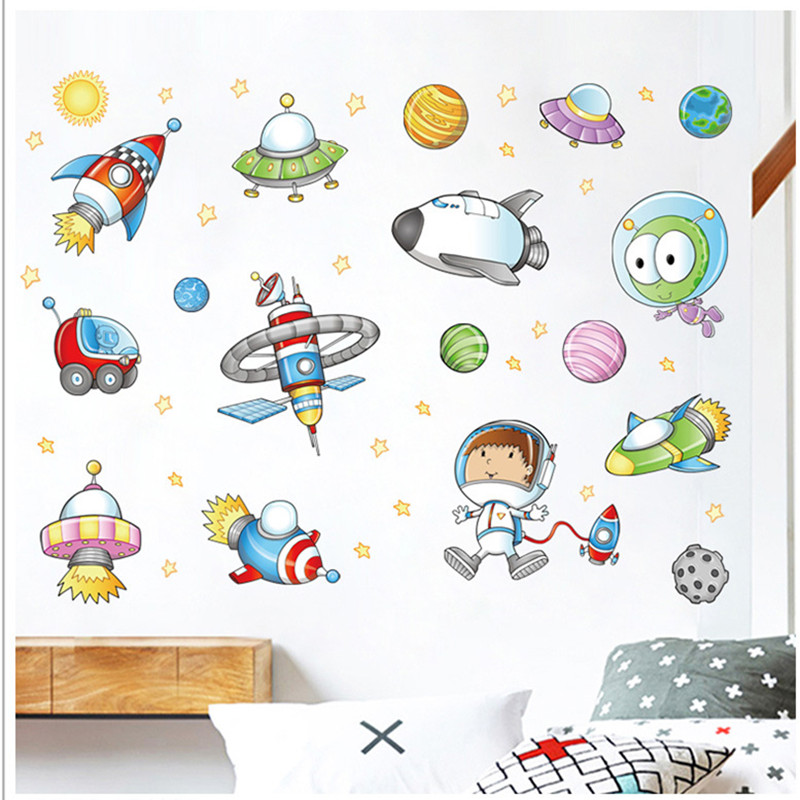 Brilliant Us 3 07 10 Off Cartoon Luminescence Space Astronaut Planet Wall Decor Stickers For Boys Room 3D Vinyl Kids Bedroom Mural Diy Adhesive Wallpaper In Home Interior And Landscaping Pimpapssignezvosmurscom