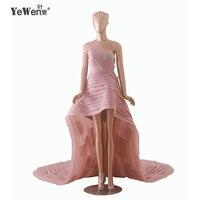YeWen mody Wysoki Niski Krótki Przód Długi Powrót Sukienka Vestidos Black Red Vestido De Renda Sexy Mermaid Prom Dresses 2016 Koronkowe