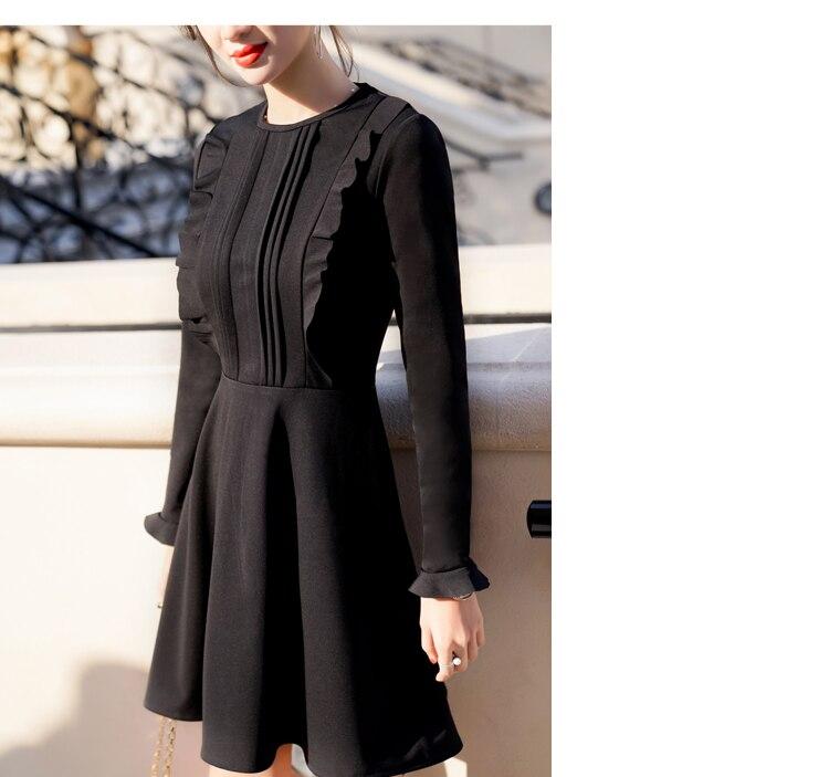 a9f54b3b04eb Купить Платья   Vintage Red Dresses Women 2018 Autumn Korean Elegant  Ruffles Slim Waist Long Sleeve Dress Black vestido de renda D406
