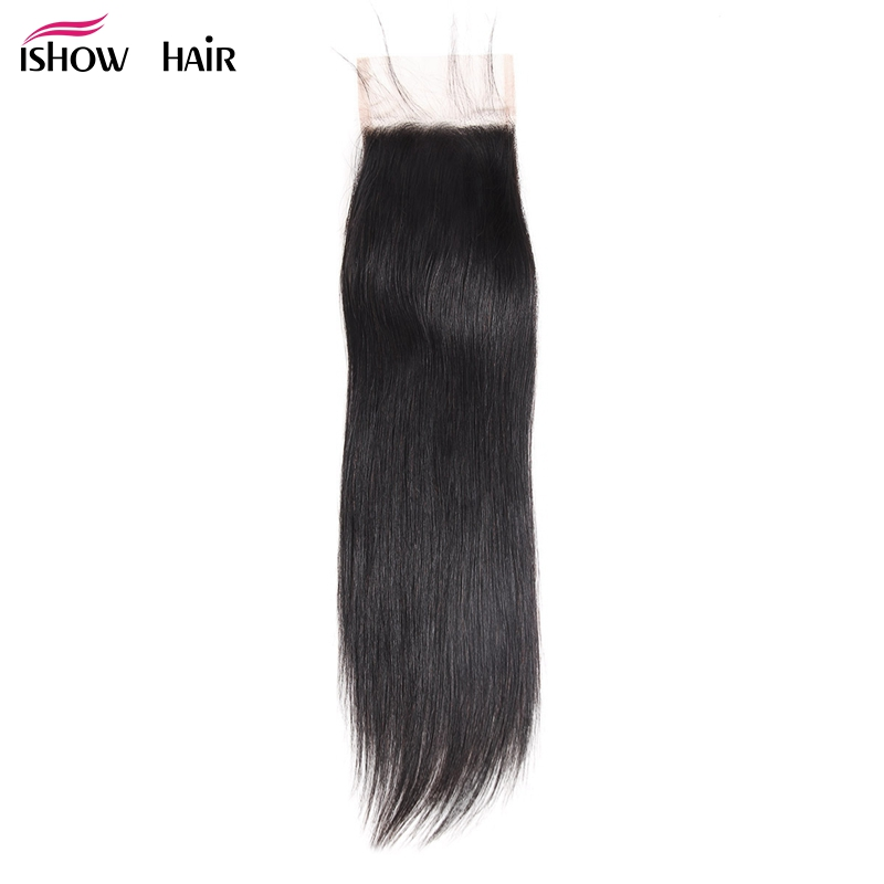 Ishow Hair Brazilian Straight Lace Closure With Baby Hair Swiss Lace Free Middle Three Part 4x4 Non Remy Closure Can Be Dyed