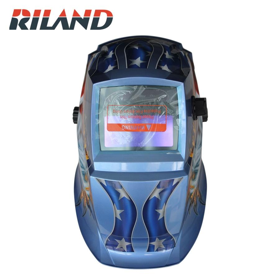 RILAND X701B Welding Mask Electric Soldering Helmet Eagle Solar Auto Darkening TIG MIG MMA Welding Helmet Welder Cap стоимость