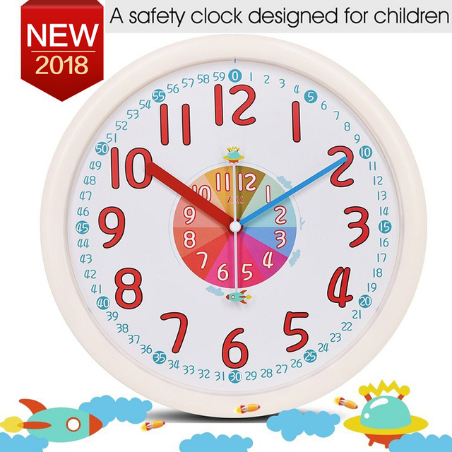 12 Inch Kid Plastic Wall Clock Baby Nursery No Glass Large Wall Clock Kidu0027s  Room Clock
