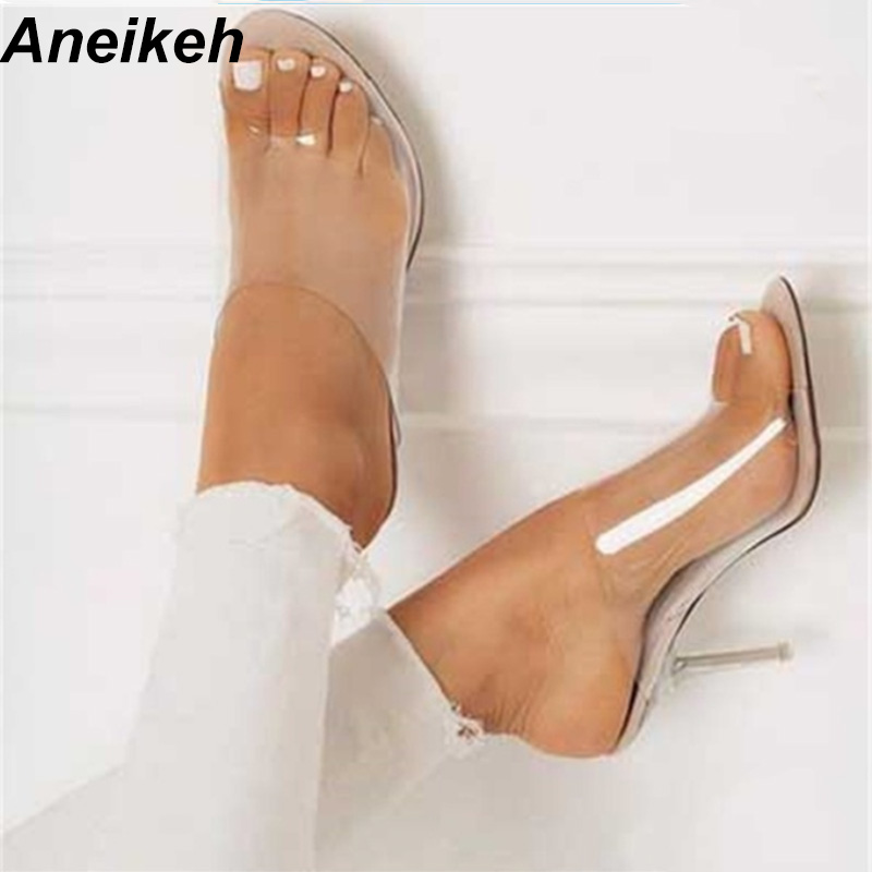 2c068b22005 Aneikeh Fashion PVC Jelly Sandals Open Toe High Heels Women Transparent  Perspex Slippers Shoes Sandals Apricot Size 35-40