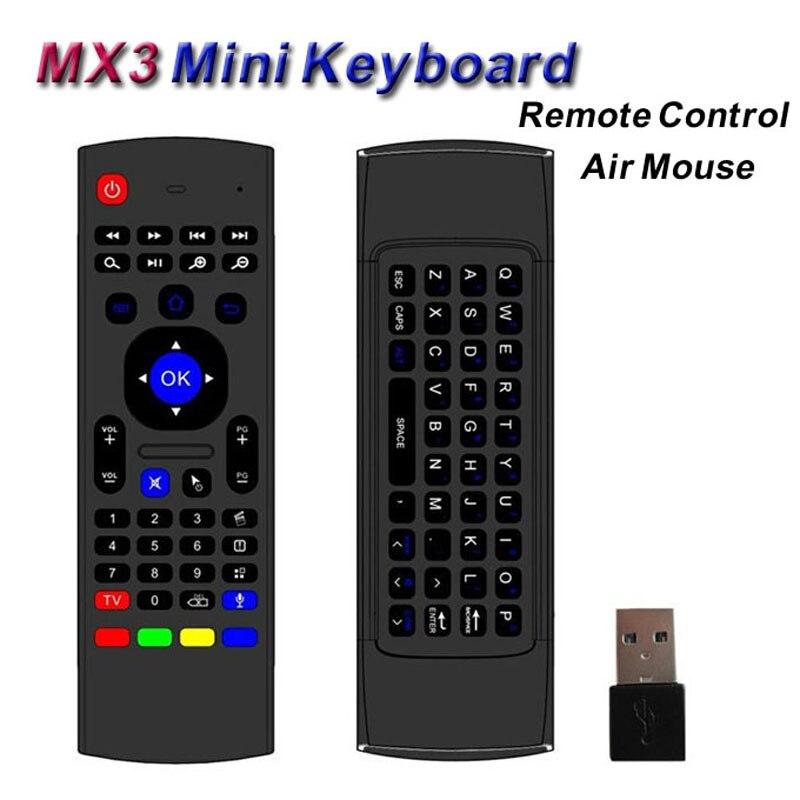 Sans fil Mini Clavier MX3 Fly Air Souris Smart TV Télécommande USB récepteur pour Android TV Box A95X X92 HTPC IPTV Mini PC Xbox