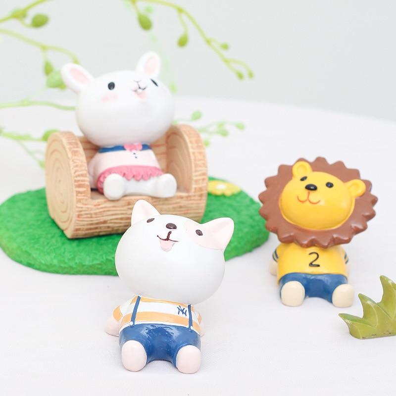 Resin Craft Cartoon Animal Flowerpot Micro Landscape Terrariums Figurine Miniature Fairy Figurines Garden Home Office Decor