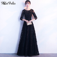 PotN Patio Black Evening Dresses Long 2018 New Elegant O Neck 3 4 Sleeves Lace Prom