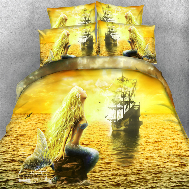 Designer 3d Golden Sea Mermaid Bedding sets 4/3PC duvet ...