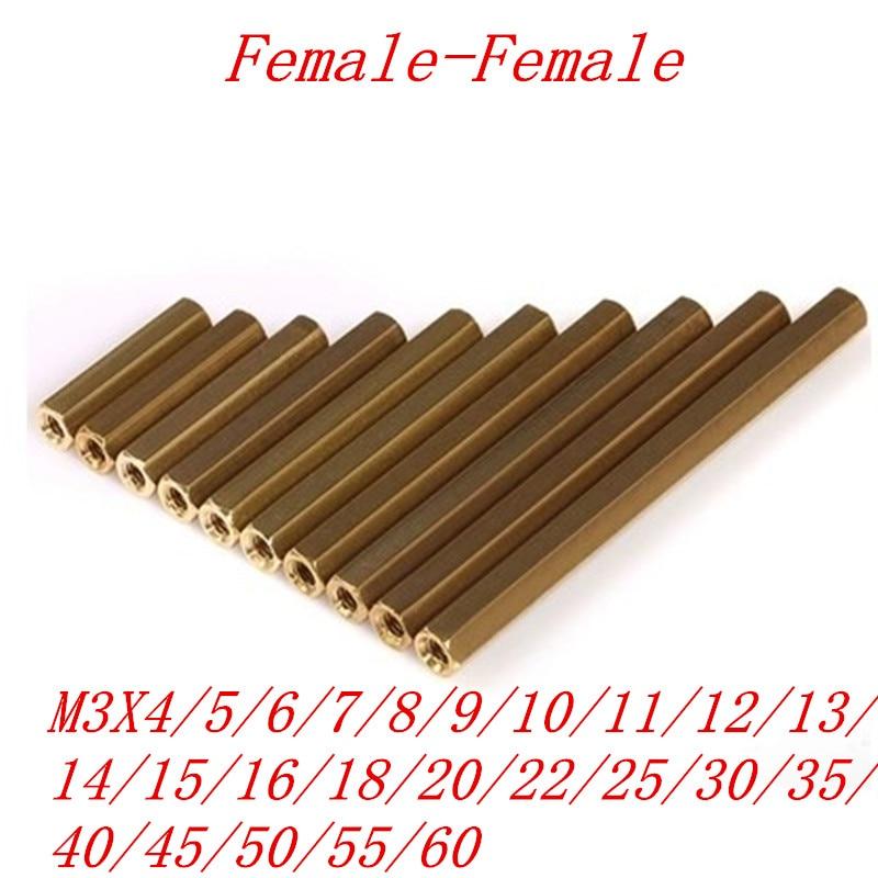 M3 female Female Brass Standoff Spacer M3 (4-60) Copper Hexagonal Stud Spacer Hollow Pillars m3*4-60mm