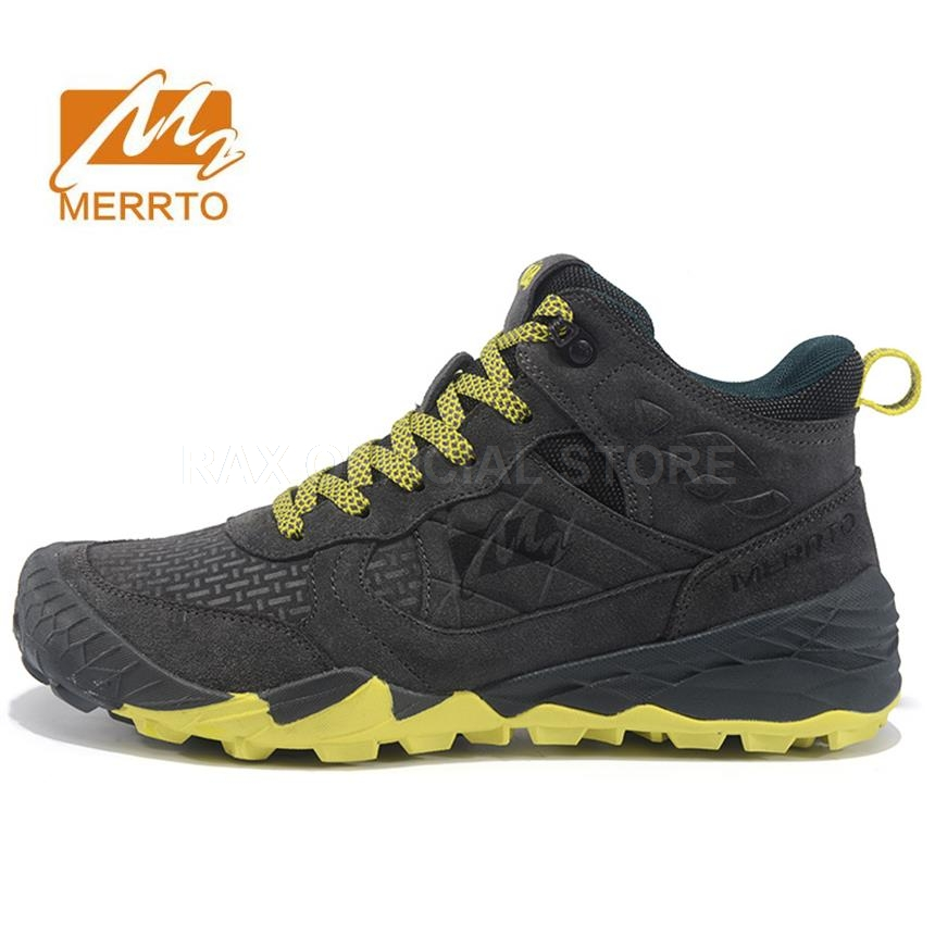 MERRTO Mens Hiking Boots Leather Outdoor Hiking Trekking Boots For Men Sports Shoes Man Trekking Shoes Climbing Mountain Boots merrto men s sports leather outdoor hiking trekking shoes sneakers for men wearable climbing mountain shoes man senderismo