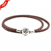 Fits European Bracelet Charm Beads Brown Leather Bracelets and Necklaces for Women 925 Sterling Silver Fandola Starry Sky Clasp