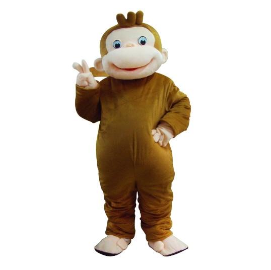 Naujas stilius įdomu George Monkey Mascot Kostiumai Cartoon išgalvotas suknelė Halloween Party kostiumas suaugusiųjų dydžio Nemokamas pristatymas