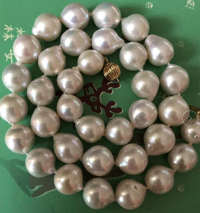 13-15mm natural south sea baroque white pearl necklace 18inch 925silver13-15mm natural south sea baroque white pearl necklace 18inch 925silver