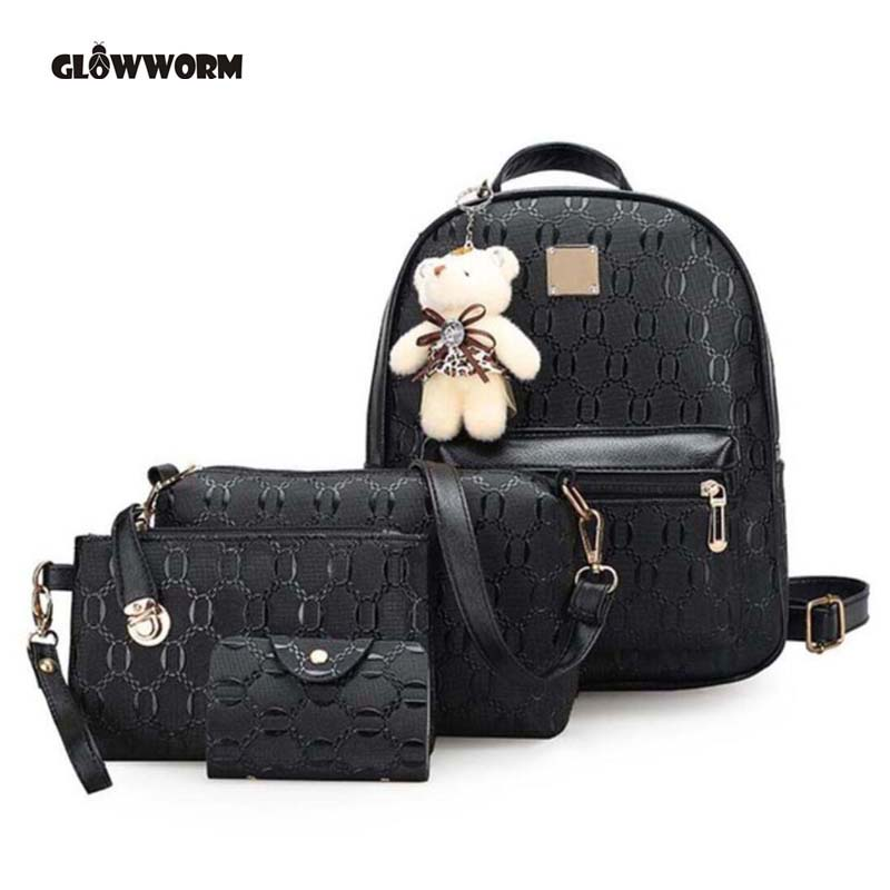 Glowworm Fashion Backpack Women Pu Leather Back Pack Famous Brand School Bags For Girls Sac A Dos Femme With Purse And Bear 2017