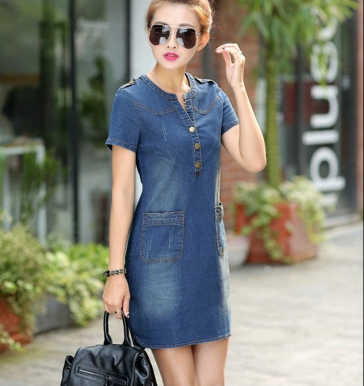 2016 new arrival summer women denim dresses short sleeves loose A word dresses plus sizes v-neck solid denim dresses 176A 25 4