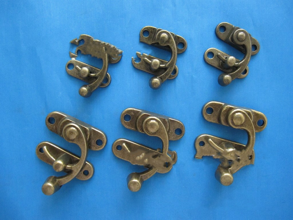10PCS NAIERDI Small Antique Metal Lock Catch Curved Buckle Horn Lock Clasp Hook Gift Jewelry Box Padlock With Screw For Hardware
