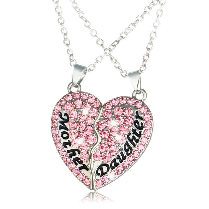 Mother Daughter Pink Crystal Heart Pendant Necklace Charm Rhinestone Mom Children Silver Chain Choker necklaces Women Jewelry