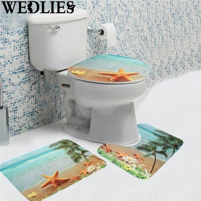 Sea Beach Bathroom Mat 3pcs Set Non Slip Soft Flannel Pedestal Rug