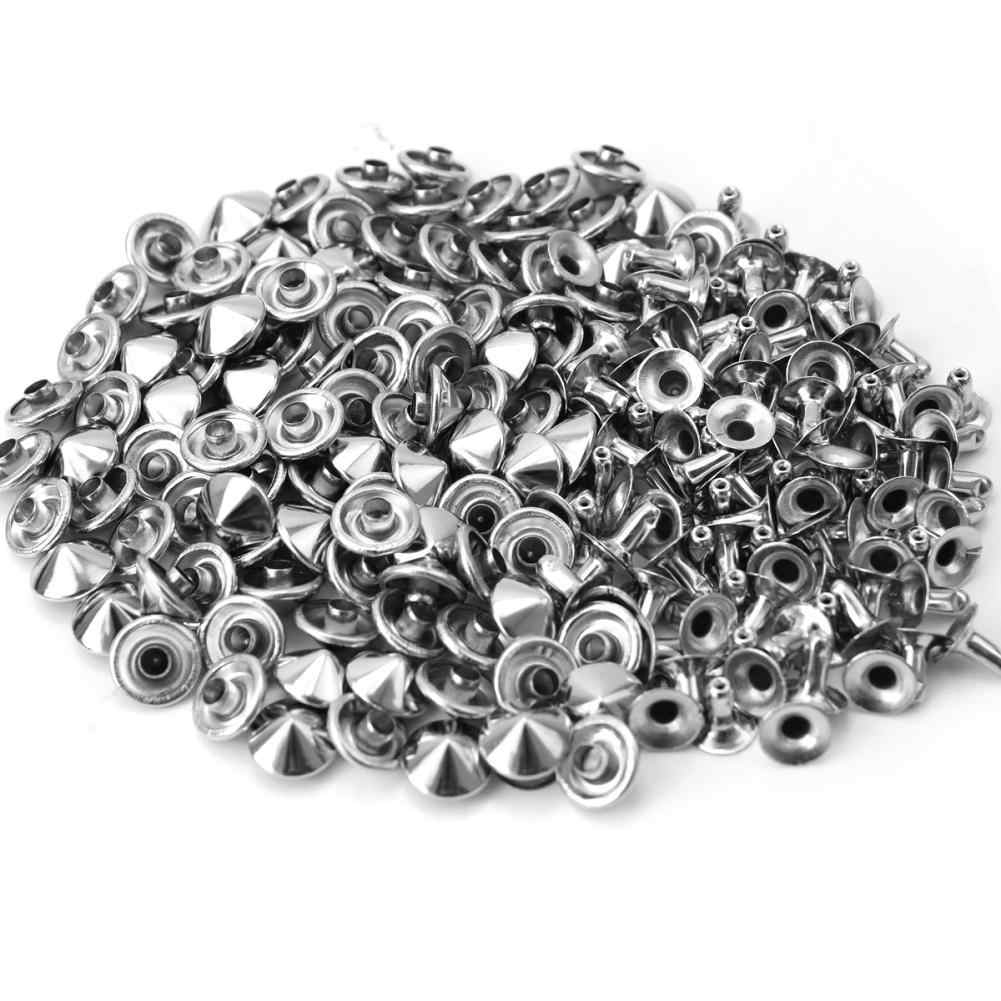 100 Pcs 10 mm Studs and Spikes for Clothes DIY Punk Rock Silver Studs Rivets For Clothes Shoes Bags Decoration Accessories