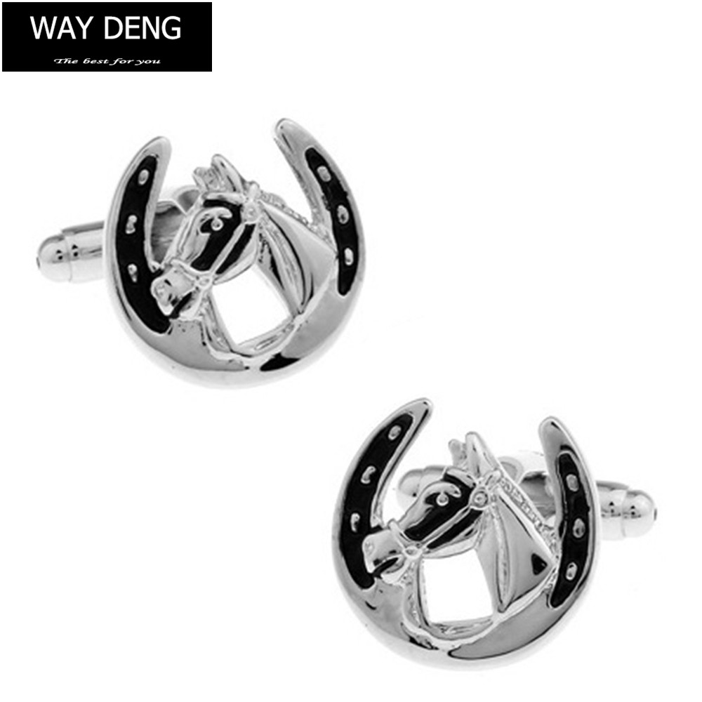 Way Deng - Fashion Mens Silver Metal Copper Horse Head Cufflinks French Style Tuxedo Shirt Cuff Links Buttons Jewelry - YC088