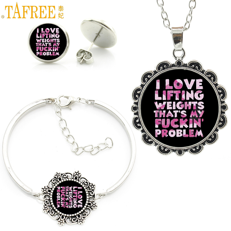 TAFREE trendy love lifting weight pendant necklace earrings bracelet men women casual sports weightlifting jewlery sets SP277