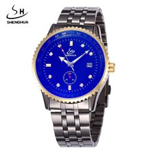 2017ファッション申花レロジオmasculinoゴールドケース大きなダイヤル鋼自動腕時計男性自動日付機械式時計メンズ腕時計