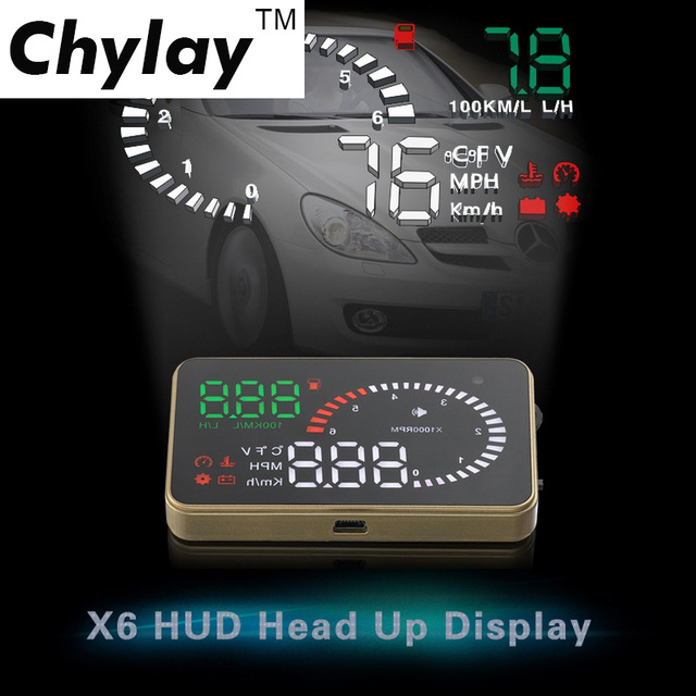 Chylay 3 Inch Head Up Display X6 Auto Car HUD GPS Speedometer Alarm Windshield Projector OBD2 EOBD Interface