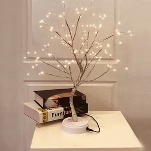 Image 1 - 108 LED USB Fire Tree Light Copper wire Table Lamps Night light for Home Indoor Bedroom Wedding Party Bar Christmas Decoration