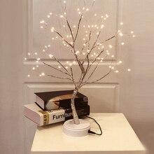 Lámparas LED de mesa de alambre de cobre ligero, árbol de fuego con USB, para el hogar Luz Nocturna, dormitorio, Bar, para fiestas de boda, decoración de Navidad, 108