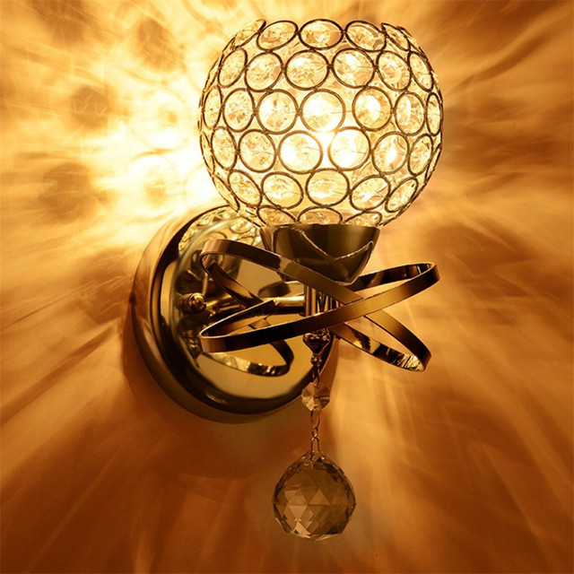 New Modern Luxury Crystal Wall Light Chrome Finish Wall Sconce ...